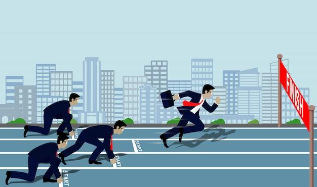 Businessmen running to the finish line to success Premium Vector