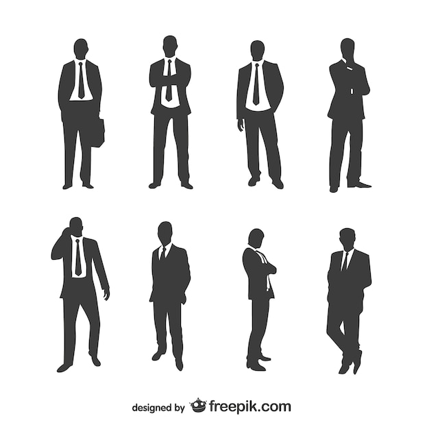 Businessmen silhouettes collection Free Vector