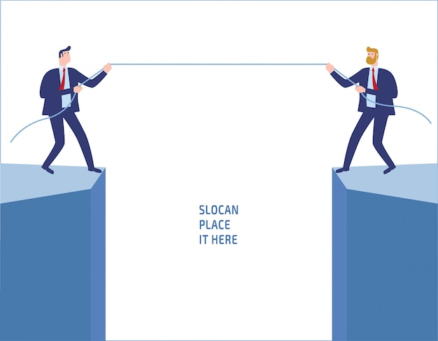 Businessmen in suit pull rope at edge of cliff. Premium Vector