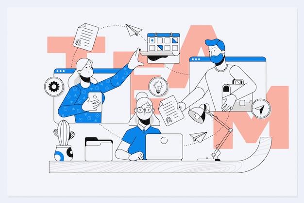 ビジネスマンが一緒に単語のチームワークを構築 Premiumベクター
