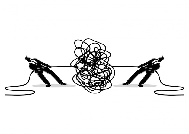 Businessmen trying to unravel tangled rope or cable Premium Vector
