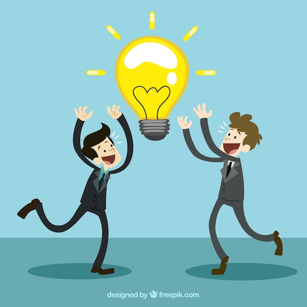 Businessmen with a great idea Free Vector