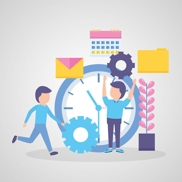 Businessmen with clock time Free Vector