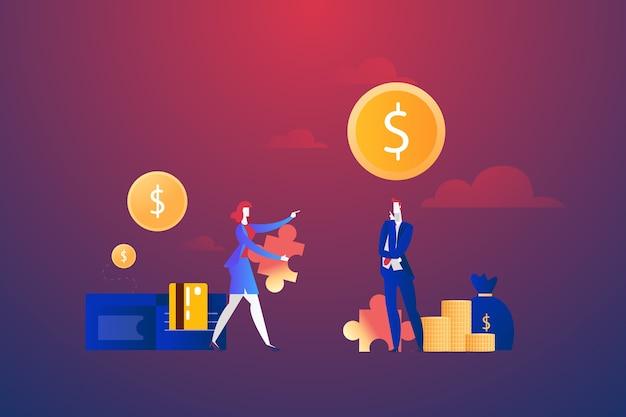 Бизнесмены с долларовой головоломкой и деньгами, концепция решения проблем Бесплатные векторы