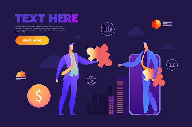 Businessmen with dollar puzzle and money, problem solving concept Free Vector