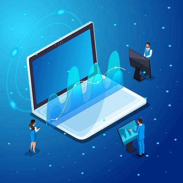 ガジェットを持ったビジネスマン、仮想画面での作業、電子機器のオンライン管理、ハイテク。イラストのキャラクター感情 Premiumベクター