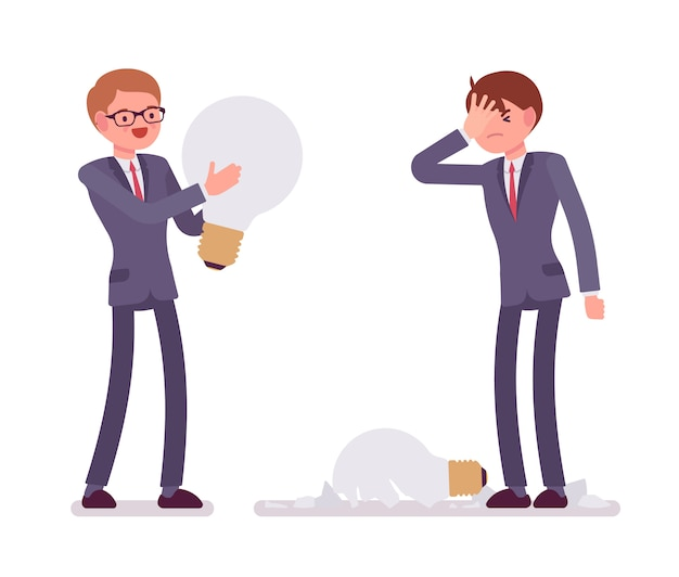 Businessmen with light bulbs, one is broken Premium Vector
