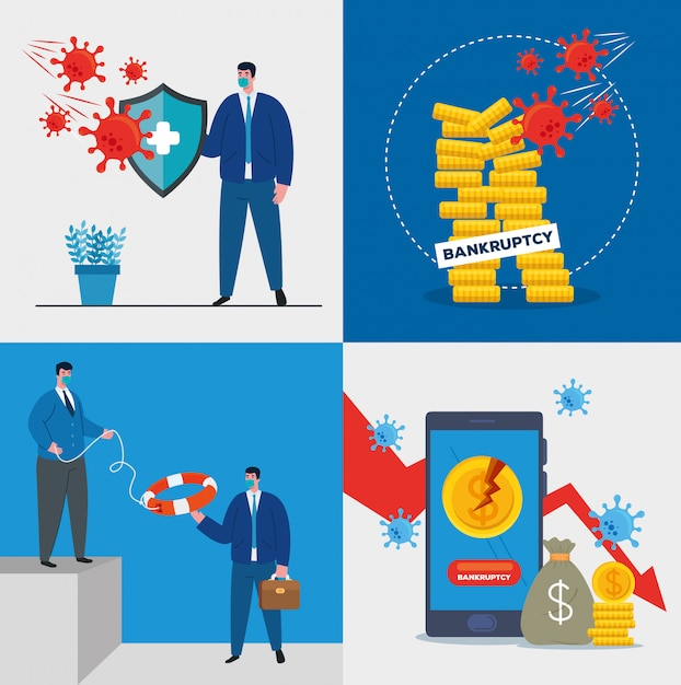 Businessmen with masks and money icon set of bankruptcy Premium Vector