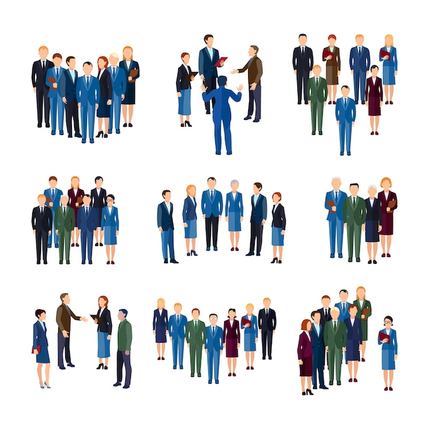 Businessmen and women professionals formally dressed working in office people groups Free Vector