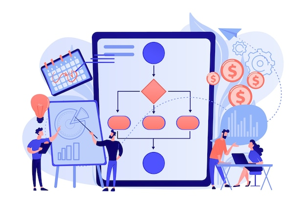 Businessmen work with improvement diagrams and charts. business process management, business process visualization, it business analysis concept illustration Free Vector