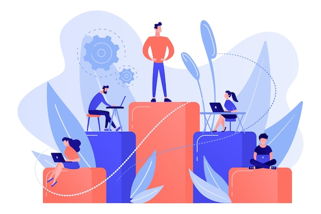 Businessmen work with laptops on graph columns. business hierarchy, hierarchical organization, levels of hierarchy concept on white background. Free Vector