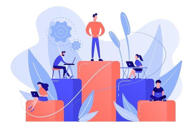 Бизнесмены работают с ноутбуками на столбцах графиков. бизнес-иерархия, иерархическая организация, уровни концепции иерархии на белом фоне. Бесплатные векторы