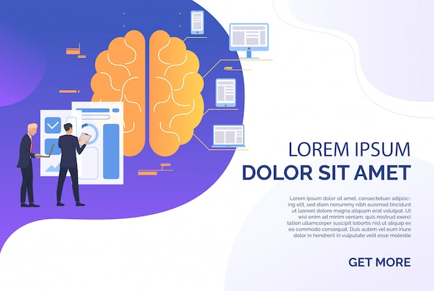Businessmen working, brain, chart and gadgets sample text Free Vector