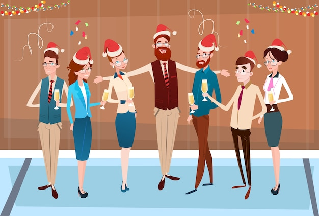 Businesspeople celebrate merry christmas Premium Vector