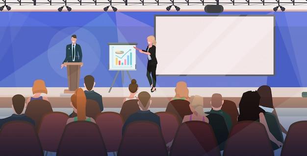 Businesspeople couple tribune speech business people making financial presentation on conference meeting with flip chart modern boardroom interior flat horizontal Premium Vector