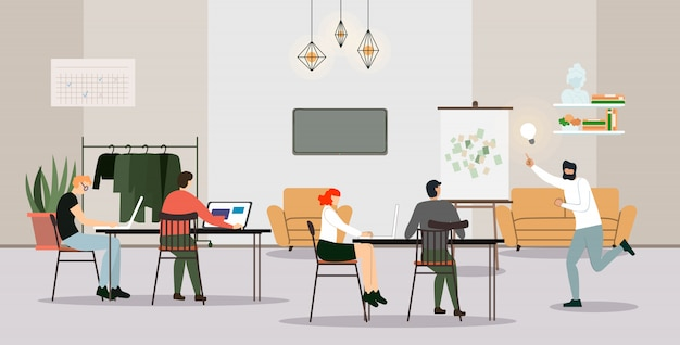 Businesspeople employees working process in office Premium Vector