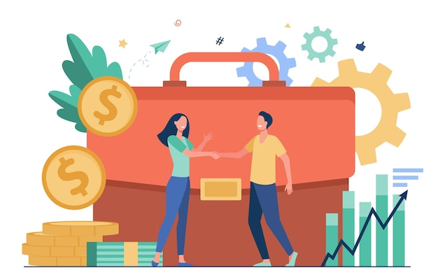 Businesspeople financing or investing money and handshaking flat vector illustration. cartoon investors taking credit for investments. partnership, money transaction and business challenge concept Free Vector