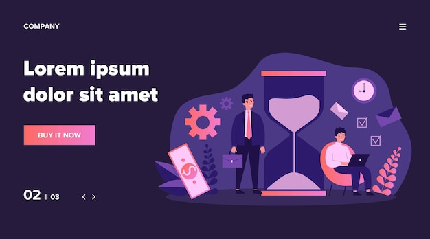 Businesspeople following time table near hour glass. freelancer working in morning, using laptop under clock.  illustration can be used for time management, chronometer, planning day concept Premium Vector