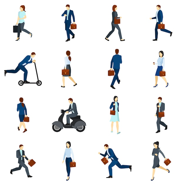 Businesspeople going to work flat icons  set Free Vector