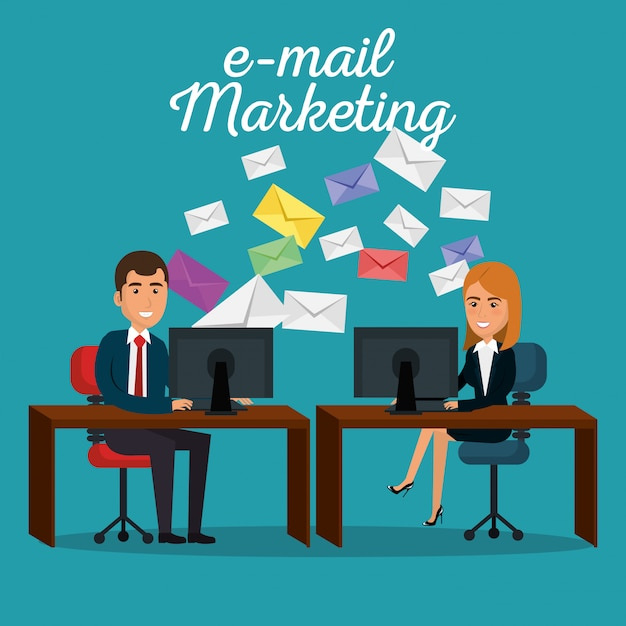 Businesspeople in the office with e-mail marketing icons Free Vector