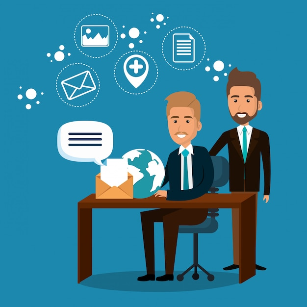 Businesspeople in the office with e-mail marketing icons Vector