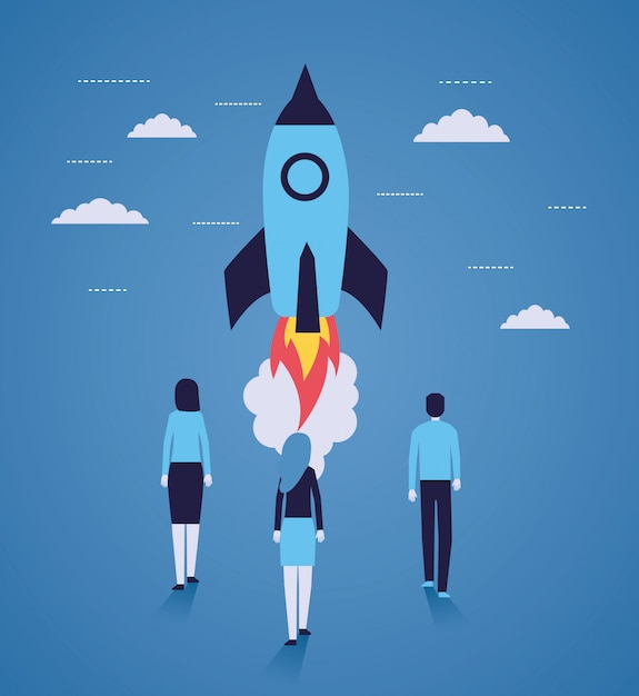 Businesspeople rocket launching startup Free Vector