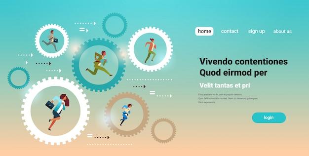 Businesspeople running in cog wheel hardworking process Premium Vector