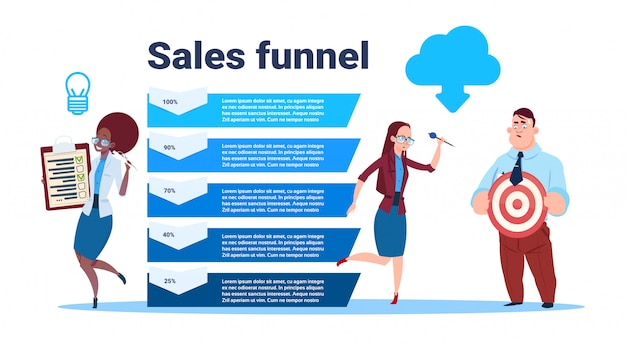 Businesspeople team hold blank form survey target arrow data cloud sales funnel with steps stages business infographic. purchase diagram concept Premium Vector