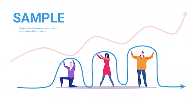 Businesspeople team holding economic arrow falling down financial crisis bankrupt investment risk concept business people with graph indicating regression full length horizontal Premium Vector