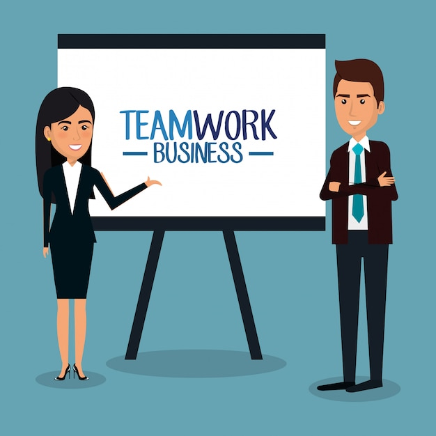 Businesspeople teamwork with paperboard illustration Free Vector