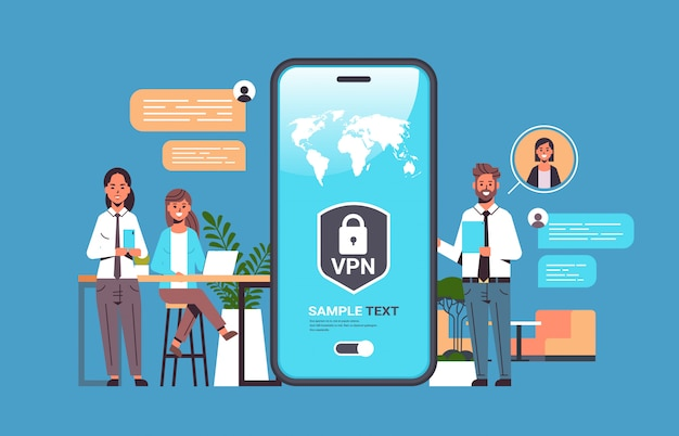 Businesspeople using virtual private network vpn for communication cyber security privacy concept Pr