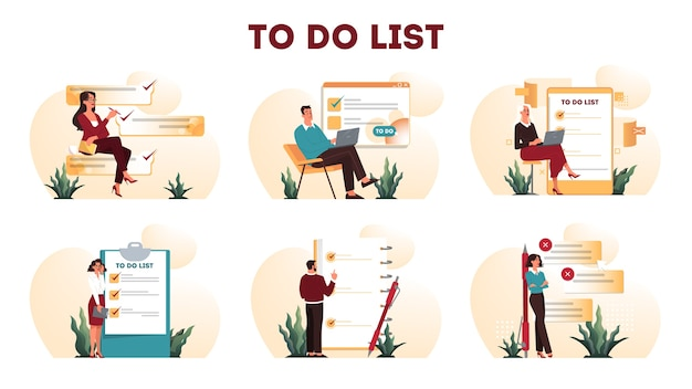 Businesspeople with a long to do list. big task document. woman and man looking at their agenda list. time management concept. idea of planning and productivity.   illustration set Premium Vector