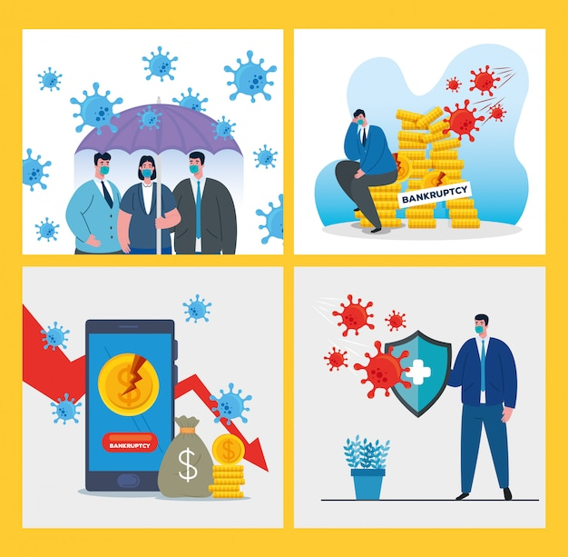 Businesspeople with masks and icon set of bankruptcy Premium Vector