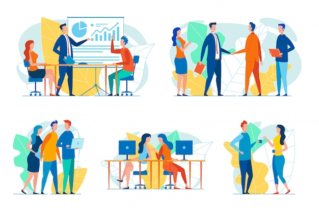 Businesspeople in work situations  set Premium Vector