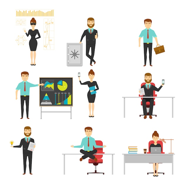 Businessperson set of characters with documents and smartphone at workplace or presentation isolated Free Vector