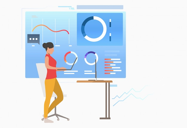 Businesswoman analyzing business data diagrams Free Vector