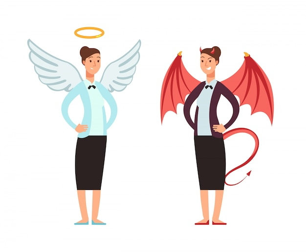 Businesswoman in angel and devil suit. good and bad woman vector cartoon character Premium Vector