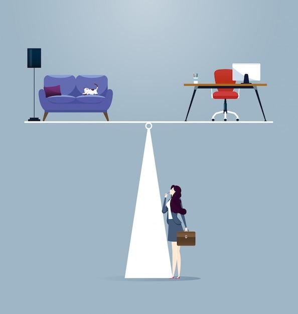 Businesswoman balancing between work and life Premium Vector