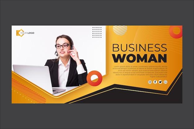 Modello della bandiera della donna di affari Vettore gratuito