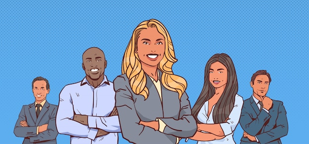 Businesswoman boss with group of business people successful mix race team folded hands Premium Vector