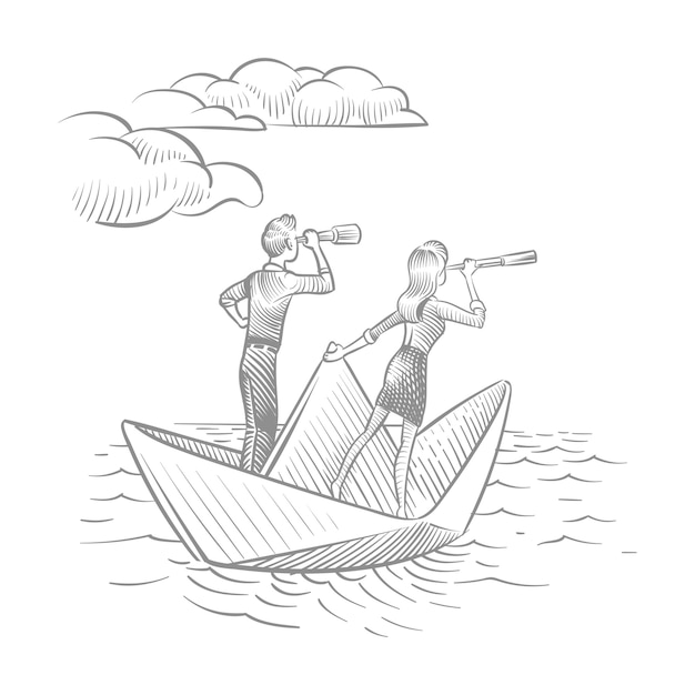 Businesswoman and businessman with telescopes sailing on paper boat. future career vision and leadership  doodle concept Premium Vector