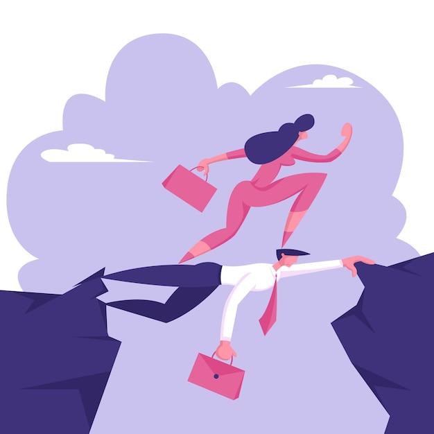 Деловая женщина-карьера идет на голову коллеге Premium векторы