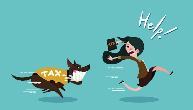 Businesswoman carrying dollar and run away the dog in shirt tax Premium Vector