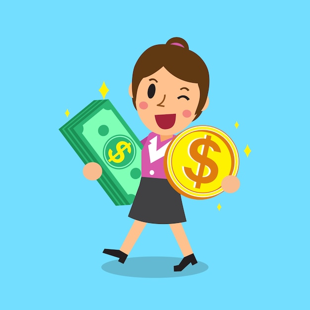 Businesswoman carrying money stack and coin Premium Vector