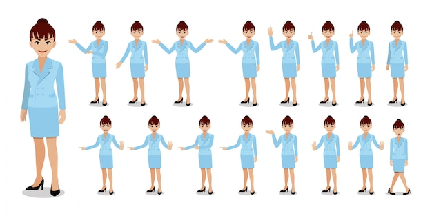 Businesswoman cartoon character set. Premium Vector