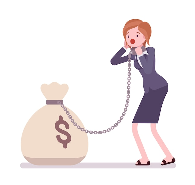 Businesswoman chained with a money sack Premium Vector