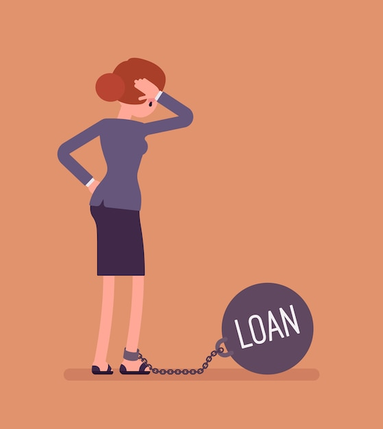 Businesswoman chained with a weight loan Premium Vector