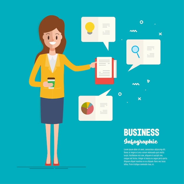 Businesswoman character to office job operation. Premium Vector
