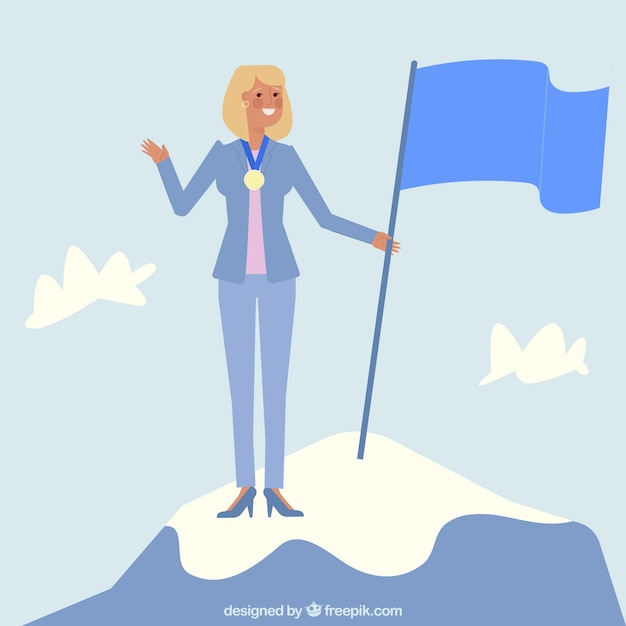 Businesswoman character on top of a\ mountain