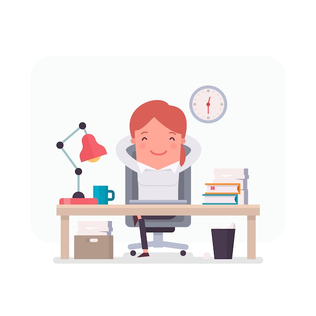Businesswoman character relaxed in the\ office